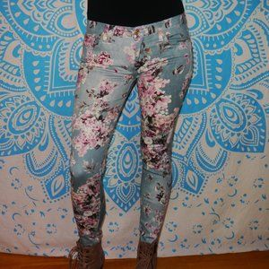 7 for Mankind Floral Jeans Skinny Ankle Stretch 28